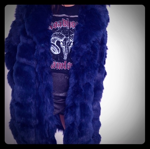 Misguided size 8 Faux fur jacket